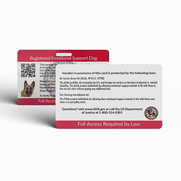 emotional support dog id card back