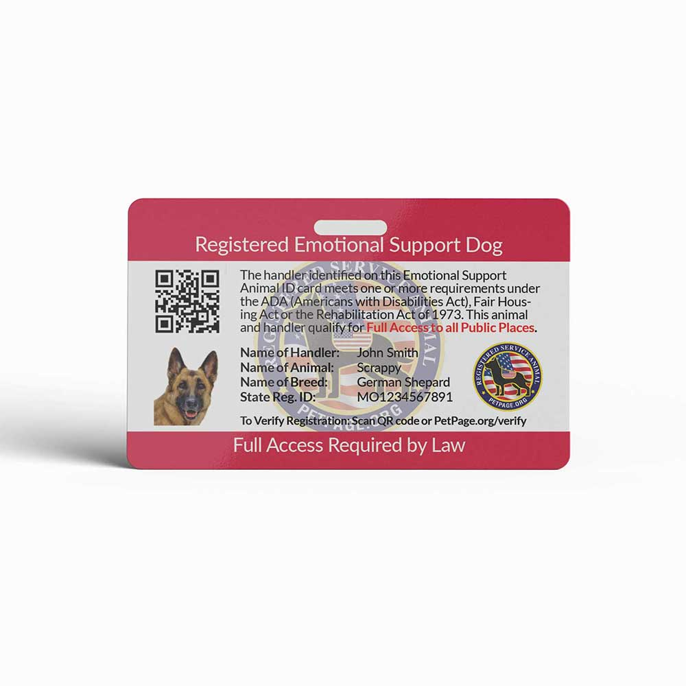 emotional support dog id card