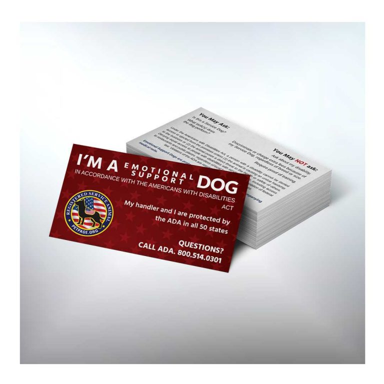 emotional support dog ada information cards