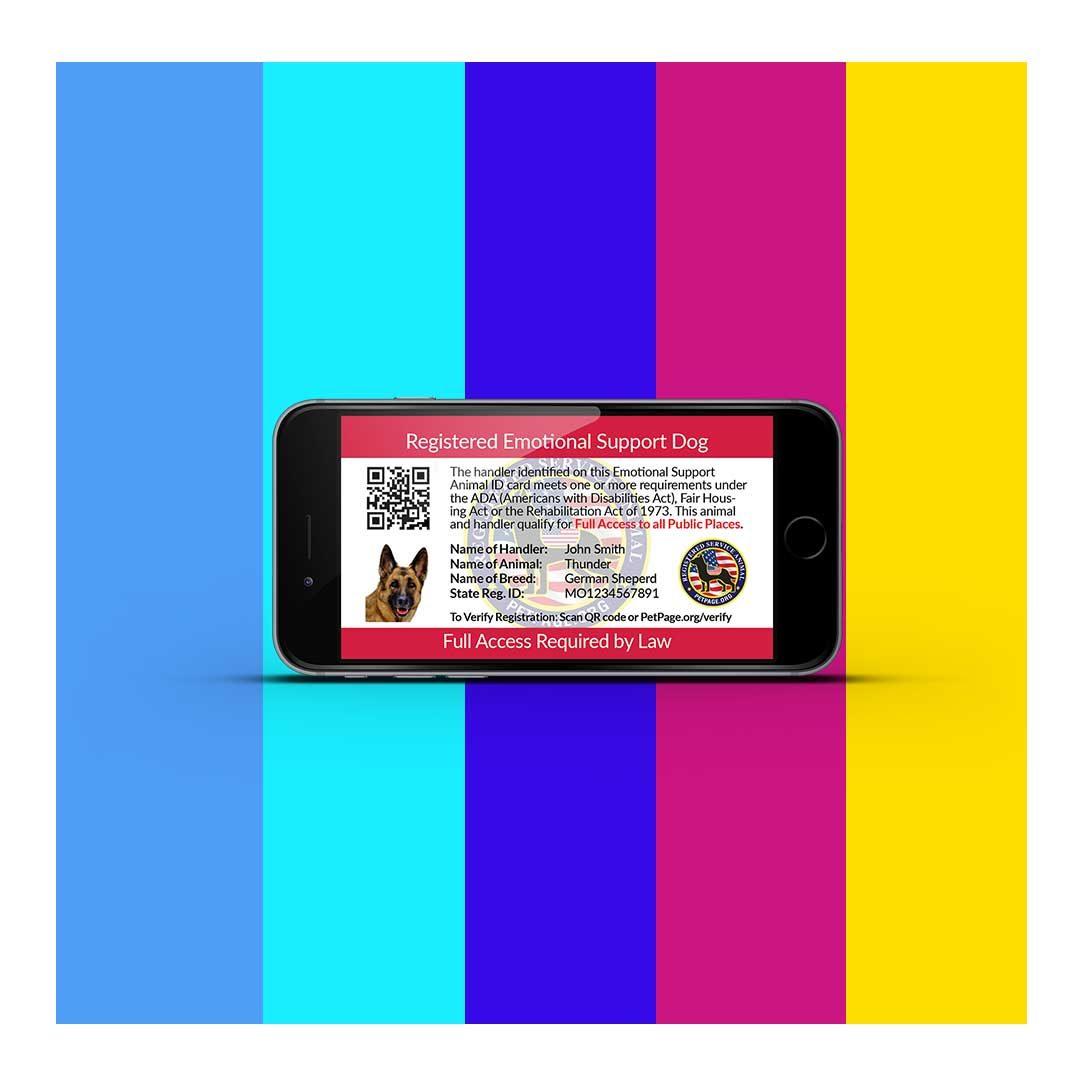 emotional support dog digital id card
