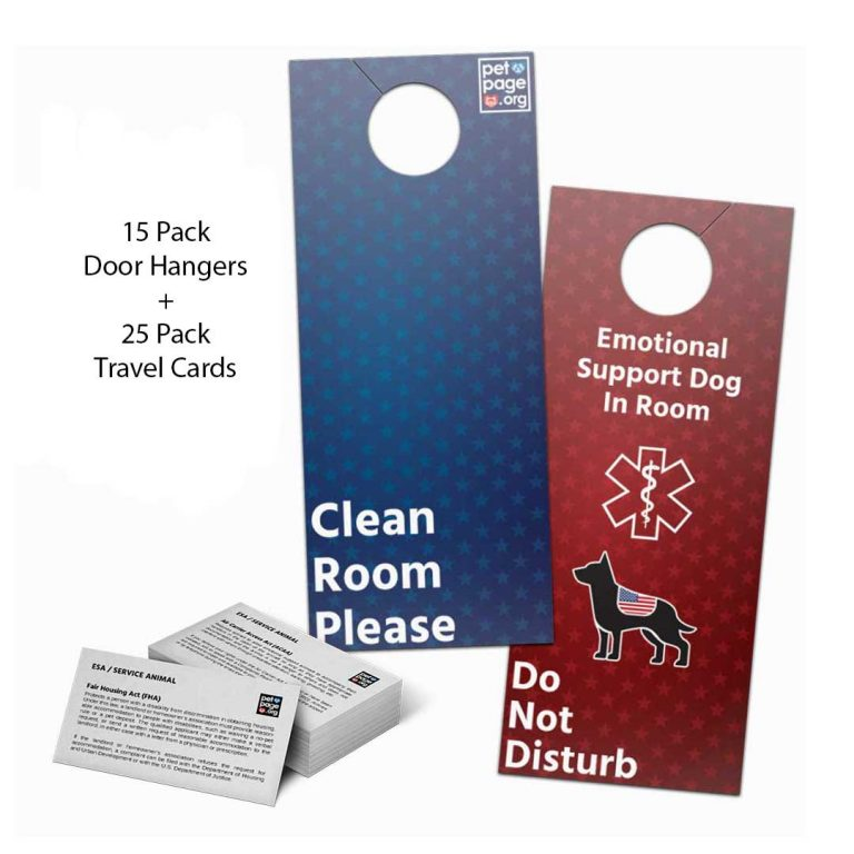 emotional support dog travel kit do not disturb red blue