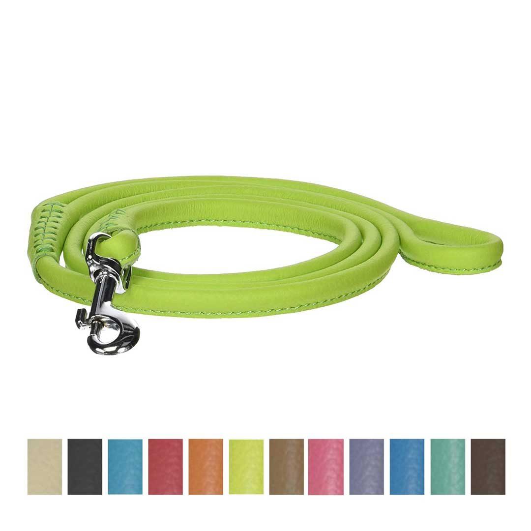 dogline round genuine leather dog leash green