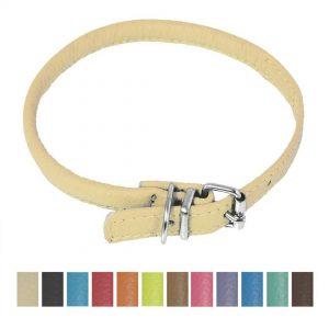 dogline round soft leather dog collar beige