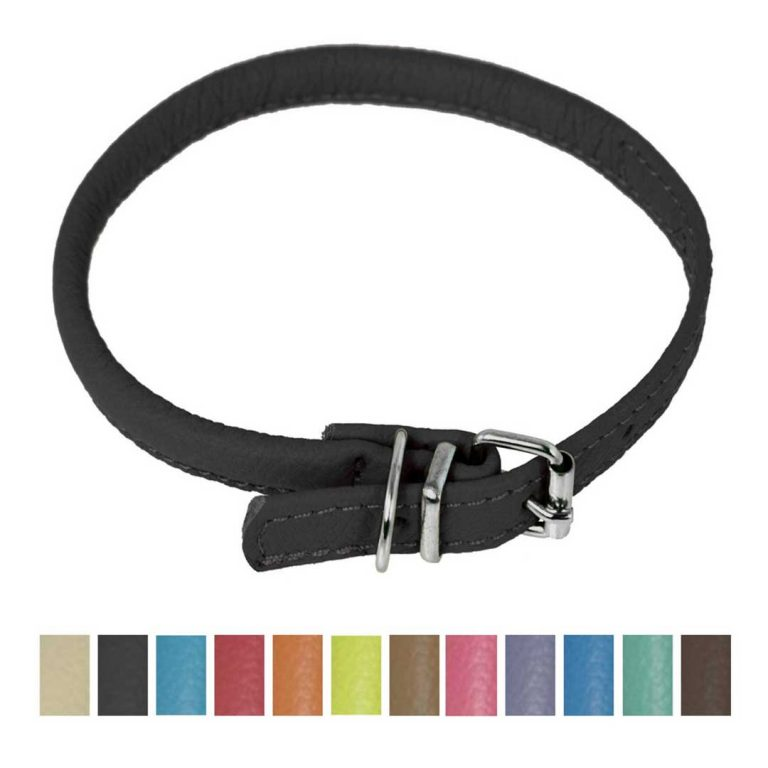 dogline round soft leather dog collar black