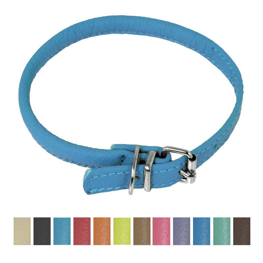 dogline round soft leather dog collar blue
