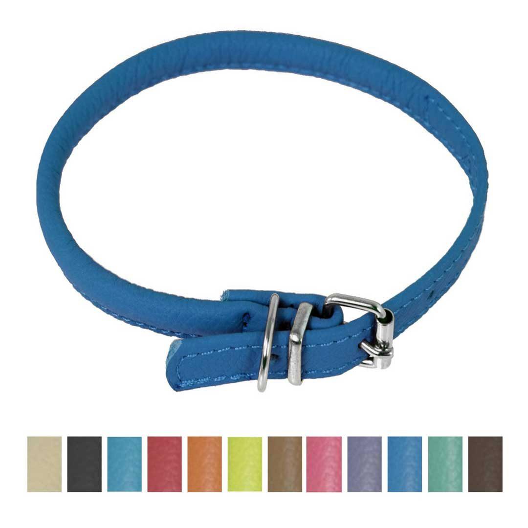 dogline round soft leather dog collar royal blue