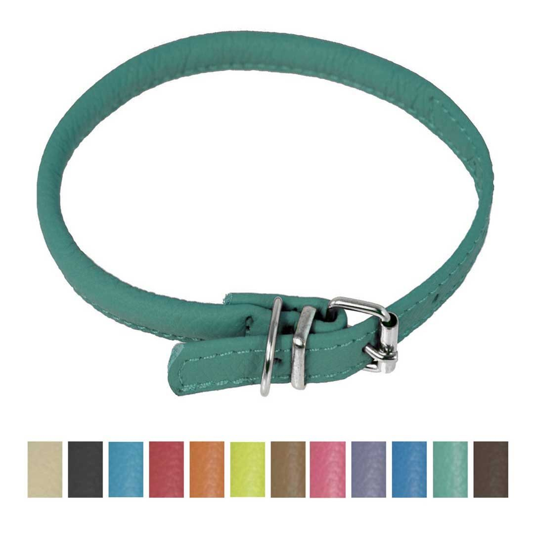 dogline round soft leather dog collar teal