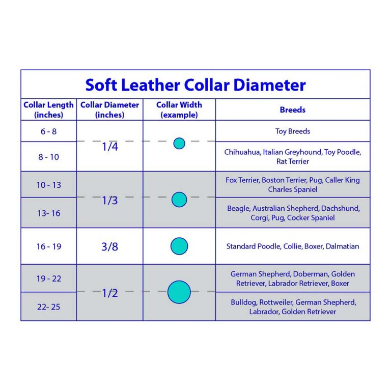 soft leather dog collar diameter chart